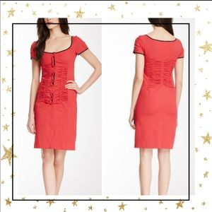 Nanette Lepore red Rattlesnake ruched  dress (D5)